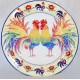 """Decorative plate (big size) """"Two roosters"""""""