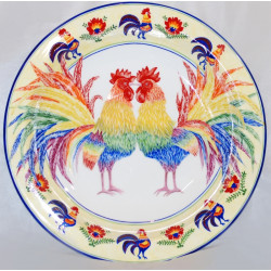 "Decorative plate (big size) ""Two roosters"""