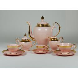 Prometheus espresso, coffe, tea set with relief (pink porcelain)