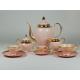 Serwis Prometeusz - espresso, kawa, herbata - dekoracja relief (różowa porcelana)