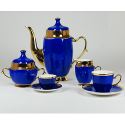 Anna Maria set with coffe/tea and espresso cups (saphite with gold)