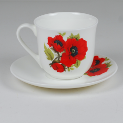 Lotos cup - decoration Red poppies