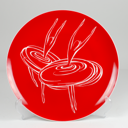 "Decorative plate ""Ballerinas - pirouette"" - red decoration"