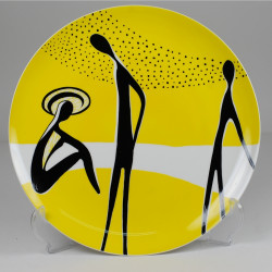 "Decorative plate ""On the beach"" - yellow & black decoration"