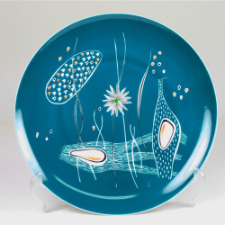 "Decorative plate ""In the pond"" - turquoise decoration"