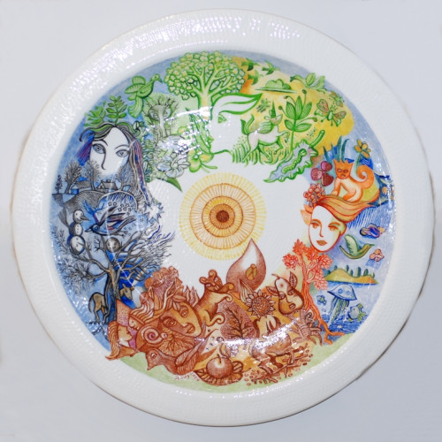 "Decorative plate (big size) ""Four Seasons"""