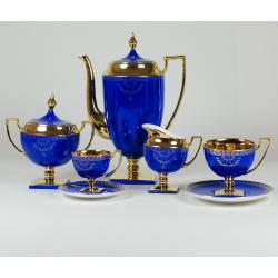 Coffee and tea set MATYLDA - saphire with gold