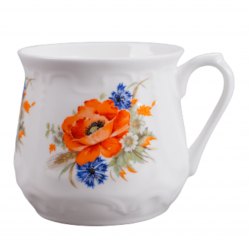 Silesian mug - decoration red weed with cornflowers