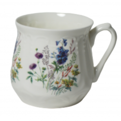 Silesian mug - decoration with blue flowers