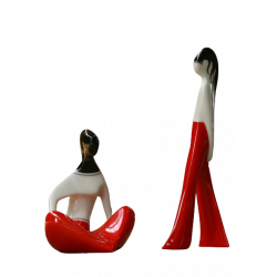 Girl sitting and Girl in flares (red, niddle decoration)