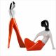Dziewczyna w spodniach i dziewczyna siedząca  (dek. pomarańczowa )