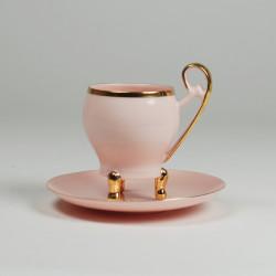 Filiżanka Wiedeńska espresso złoty pasek (różowa porcelana)