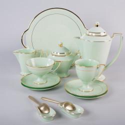 Serwis Pola  do kawy - dekoracja złota (szmaragdowa porcelana)