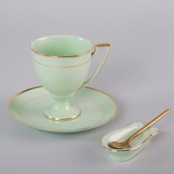 Filiżanka Pola do kawy z niekapką - dekoracja złota (szmaragdowa porcelana)
