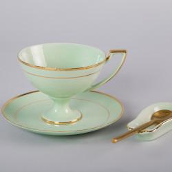 Filiżanka Pola do herbaty z niekapką - dekoracja złota (szmaragdowa porcelana)