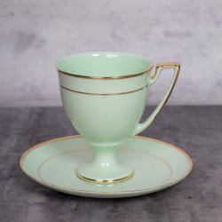 Filiżanka Pola do kawy - dekoracja złota (szmaragdowa porcelana)