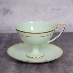Filiżanka Pola do herbaty - dekoracja złota (szmaragdowa porcelana)
