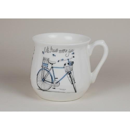Kubek śląski (duży) - Różowy rower
